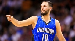 MIAMI, FLORIDA - APRIL 10: Evan Fournier #10 of the Orlando Magic gestures during the game against the Miami Heat at the American Airlines Arena on April 10, 2016 in Miami, Florida. NOTE TO USER: User expressly acknowledges and agrees that, by downloading and or using this photograph, User is consenting to the terms and conditions of the Getty Images License Agreement. (Photo by Rob Foldy/Getty Images)